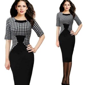 Retro British Fashion Contrast Color Slimming Waist Black and White Stitching Dress Female Spring 2020 European and American Spot