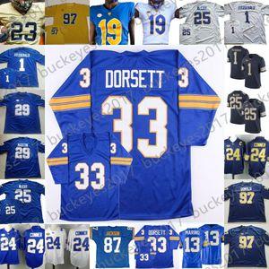 NCAA Pittsburgh Panthers Pitt Maillots bleu blanc Football américain universitaire # 13 Dan Marino 25 Darrelle Revis 29 Curtis Martin 33 Tony Dorsett