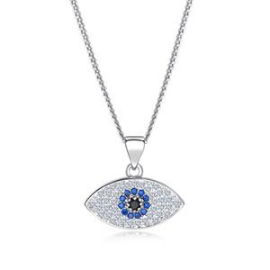 2019 повезло сглаз ожерелье женщины 18K позолоченные платиновые цепи Циркон турецкие ювелирные изделия Турция голубые глаза Шарм ожерелья
