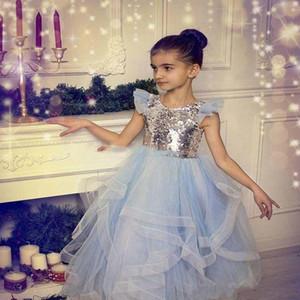 Light Blue Paillettes Fleur Filles Robes hiérarchisé Jewel Neck Kids Party Dress Tulle filles robe de bal Pageant Robes enfants robe de bal Robes