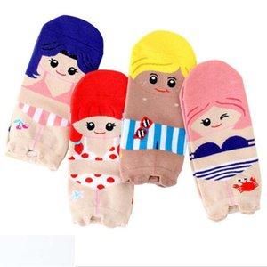 coton pour femmes 4pairs / lot printemps été et automne dessin animé confortable dames court chaussettes et chaussettes drôles de femme