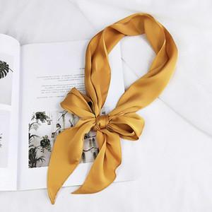 Femmes dames de mode foulard carré tête cou soie Soie élégant petit maigre satin cheveux cravate bande pashmina couleur bandana D19011106 de couleur unie