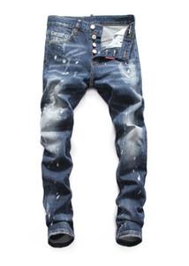 2019 jeans pour hommes debout européens, jeans pour hommes, un jean slim et des crânes brodés noirs V34