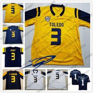 Custom Toledo 2019 Футбол в колледже Любое число Имя Темно-синий Золотой Желтый Белый 3 Карим Хант Дионте Джонсон Мужчины Молодежь Малыш NCAA Джерси