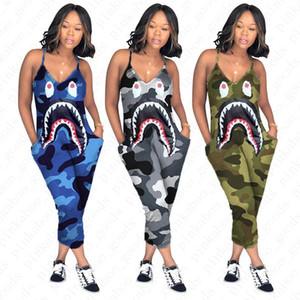 Le donne tuta pagliaccetti Camo colore Bretelle tuta Shark Bocca Stampato pantaloni lunghi Sexy scollo a V pagliaccetto One Piece Pants D52705