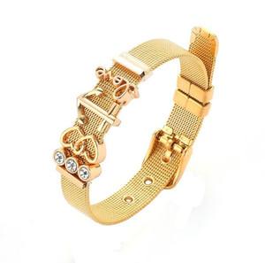 شبكة جودة الفولاذ المقاوم للصدأ وردة نوع ذهب سوار الحب أفضل هدية مجوهرات سحر المعصم للبنات للنساء