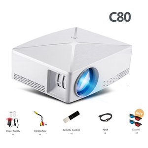 Ev Sineması için Freeshipping HD MİNİ Projektör C80 / C80UP 1280x720 Çözünürlük Android WIFI Proyector LED Taşınabilir HD Projeksiyon