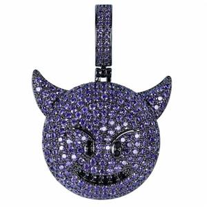 GLACÉ cubique Zircon Plaqué Little Devil Pendentif Collier couleur pourpre plaqué Hip Hop bijoux pour les cadeaux