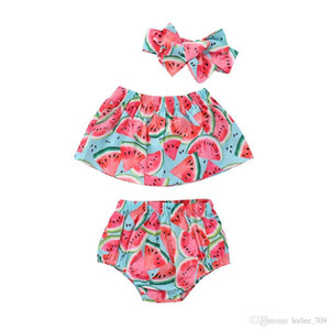Ins Baby Girl Toddler 3piece Set Outfits Watermelon Tank Tops Shirts Vest Shorts Pants Bloomers Wtih Bow Headband Summer Sets