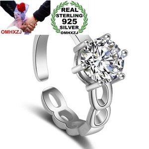 OMHXZJ Großhandel einfache Art und Weise asymetrische Muster Zircon OL Geschenk 925 Sterlingsilber-Frauen-Mädchen-Opening Resizable Ring RG57