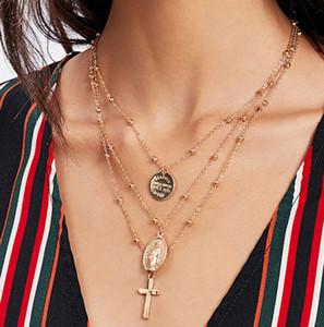X86 Multilayer Kreuz Jungfrau Maria Anhänger Perlen Kette Christian Neckalce Göttin Katholischen Halsband Halskette Collier Für Frauen