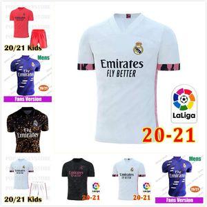 new REAL MADRID jerseys 20 21 soccer jersey HAZARD SERGIO RAMOS BENZEMA VINICIUS camiseta football shirts uniforms men + kids kit sets 19 2