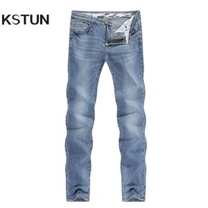 2019 jeans moda maschile Business Casual Etero Slim Fit ultrasottile traspirante Elasticizzato Retrò Blu Estate denim pantaloni Large Size