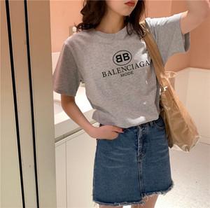 Moda monograma-venda quente gola redonda T-shirt impressão feminina de algodão puro manga curta Europa e América frete grátis o estilo quente