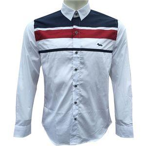 Harmontblaine рубашка платья вскользь пригонки Mens тонкой рубашки сорочка Homme Men Shirt Solid Mesh Heren Hemden Камиз Masculina