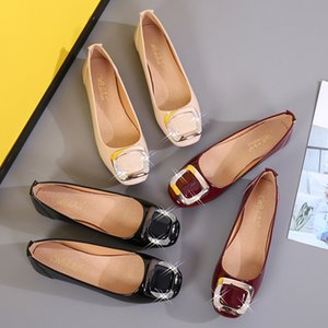 OL work shoes woman metal crystal buckle flats ladies japanned leather square toe office moccasins shallow soft bottom loafers