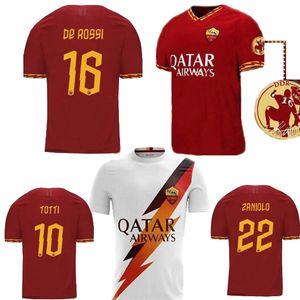 2019 de Rossi Pastore Zaniolo Rome Totti Hommes Jersey Football Kit de football Uniformes 2020 As Maillot de pied Roma Jersey 19 20 Taille S-3XL