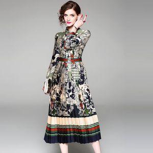 Nuovo 2018 abiti lunghi Vestido Europei Donne Stile del manicotto di moda lungo Green Leaf vestito floreale di stampa con l'arco formato della cinghia S-2XL