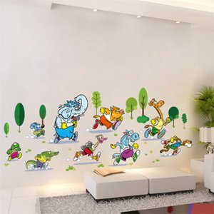 20190621 Cartoon Animal Marathon Wall Painting Kindergarten Fondo Decoración Extraíble Autoadhesivo Papel