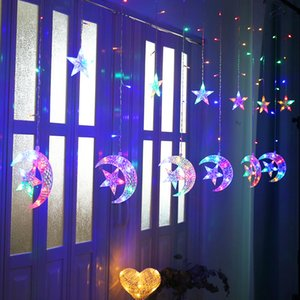 Curtain Light Strings 2.5m 138leds Moon Star Icicle Fairy Lamp String Wedding Christmas Festival Party Home Decoration Supplies