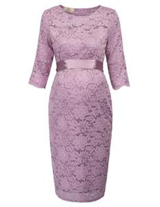 Gk Vogue Dress elegante maternità donne incinte vestiti mezza manica girocollo fianchi avvolgere fiore abito di pizzo solido sash abiti Y19051001