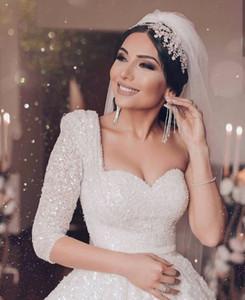 2020 Дубай Саудовская Аравия A-Line Свадебное Платье Роскошные Бисероплетение Блестками Vestido Де Noiva Винтаж Одно Плечо Свадебные Платья