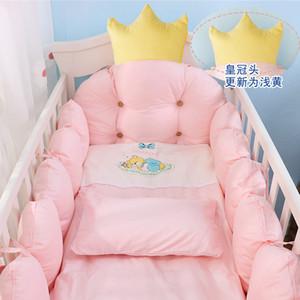 100% coton Lit Lit Kit linge, Lit bébé Crown design Literie, Literie de bébé ensemble comprend Bumpers + oreiller + couette + housse de matelas