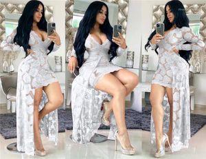 Lace Dress Fashion V Neck Flora Print Famale Clothing Long Sleeve Slim Fit Dress Womens Designer Sexy