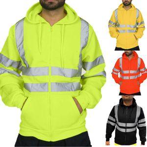 E-Baihui 2020 Reflective Sanitation Tuta Felpe degli uomini più in pile con cappuccio giallo fluorescente con cappuccio Man F829