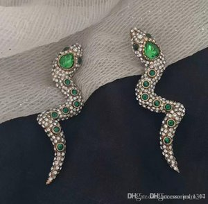2019 hot European and American fashion personality snake ear clip temperament net red long super flash full diamond long earrings earrings f