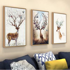 European Elk Modern Minimalist Porch Bedroom Restaurant Background Frame Decoration Painting New Fu Lu Oil Painting