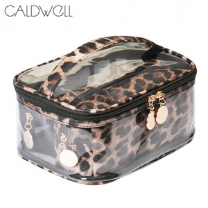 Clear  Bag Set Zipper Waterproof Transparent Travel Storage Pouch Cosmetic Toiletry Bag With Handle Leopard print
