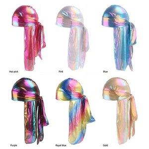 Colorful Sparkly Durags Turban Bandanas Men's Shiny Silky Durag Headwear Headbands Hair Cover Wave Caps R303 n6355 . a236