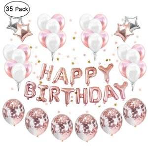 Birthday layout balloon supplies rose gold birthday letters white gold five-star pull flag rose gold sequin package