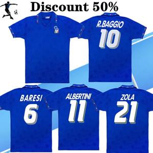 Desconto camisa de futebol clássico 1,994 Itália selecção nacional retro camisa de futebol casa 94 italy MALDINI BARESI Roberto Baggio ZOLA CONTE do vintage