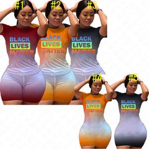 2020 BLACK LIVES MATTER Letters Women Tracksuit Mini Dress Gradient Color Summer T-shirt Shorts 2PCS Outfits Casual Tshirt Dresses D61207
