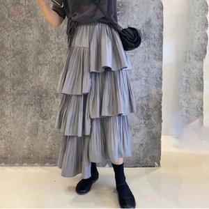 2020 High Waist Skirt Spring New Female Irregular Casual Temperament Loose Stitching Pleated Skirt 19B A1 01