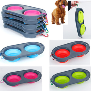 Silicone Folding dog bowls Expandable Cup Dish for Pet feeder Food Water Feeding Portable Travel Bowl portable bowl with Carabiner HH9-2106