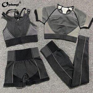 Verão sem emenda Yoga Set Mulheres Orange Top Curto Esporte Bra shirt Sportsuit treino equipamento da aptidão Pant ginásio de alta cintura Shorts Conjuntos