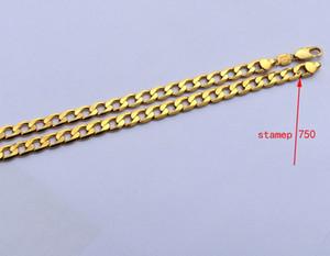 """Collana GF in oro giallo 18 carati Solid Stamep AU750 Collana a catena barbazzale da 23,6 """"regalo di compleanno di San Valentino solido"""