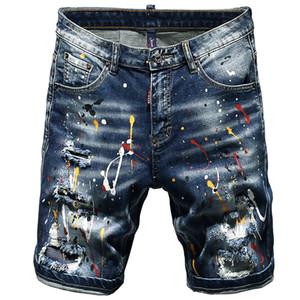 Yaz Kısa Jeans Erkekler Stretch Şort Baskılı Erkek Yaz Yeni Hip Hop Streetwear El Boyalı Boya Beş Pantolon Torn yırtık