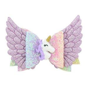 Крыло ангела Принцесса заколки блеск Единорог волосы Луки с зажимом девушка партии лук зажим для волос аксессуары для маленьких девочек заколки
