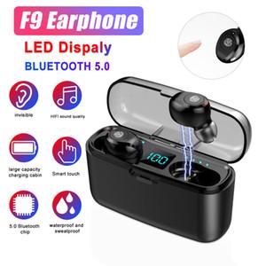 F9 TWS Bluetooth 5.0 Mini-Kopfhörer Stereo-Fingerabdruck-Touch-Mic drahtlose Earbuds Kopfhörer mit LED Digital Charging KleinBox