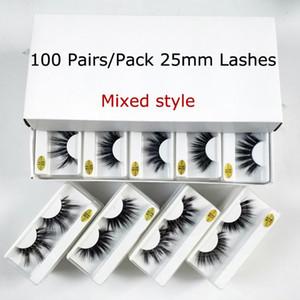 Toptan 25mm 20/30/50/100 Çiftler 25 mm Yanlış Eyelashes Kalın Şerit Vizon Kirpikler Makyaj Dramatik Uzun Vizon Kirpikleri Toplu Kirpikler