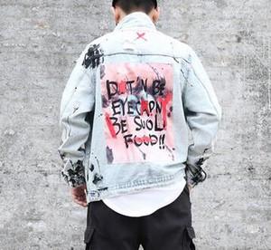 Hommes Graffiti Denim Vestes Streetwear 2018 Hip Hop Casual Patchwork Déchiré En Punk Rock Jeans Manteaux Outwear