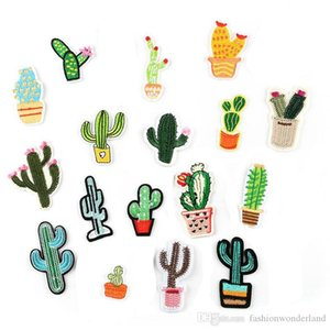 Cactus Succulent Pink Flower Embroidery Patches Sew Iron On Applique Repair DIY Badge Patch For Kids Clothes Jacket Bag Garment