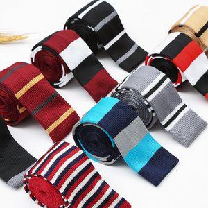 Männer Stricken Krawatte verknoten Herren sportlich Feste kintted Polyester Silk Grenzen Design-Flach-End-Krawatten-Ansatz Krawatten Knitting Krawatten