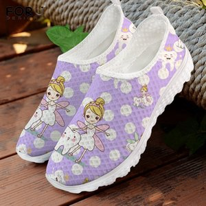 FORUDESIGNS Funny Cartoon Tooth Fairy Dentist Dental Pattern Girl Slip On Sneakers Design Purple Shoes Casual Summer Shoes