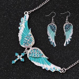 1 Gioielli Set collana 1pair orecchini di cristallo ali orecchini Angelo Collana Ali collana ciondolo Ali ORECCHINI