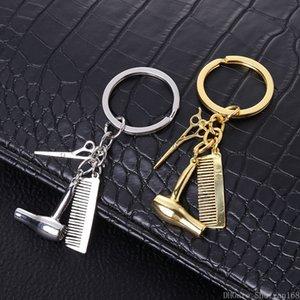 Persönlichkeit Paar Schlüsselanhänger Fön Combs Schere Anhänger Schlüsselanhänger Werkzeuge Friseurs-Scheren-Schlag-Schlüsselring Schmuck Weihnachtsgeschenk